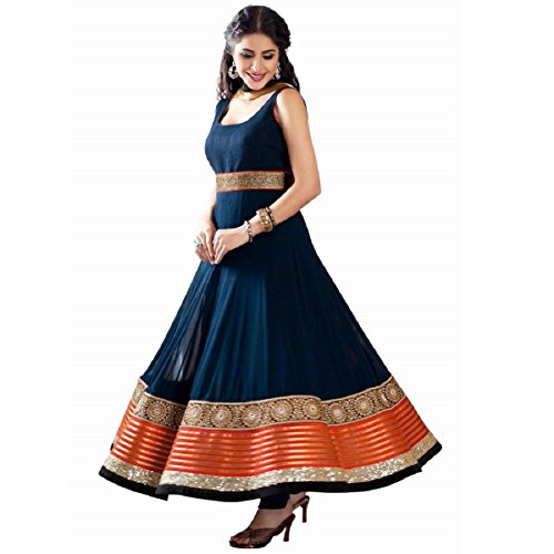 Active Women\'s Georgette Embroidered Anarkali suit (Free Size_Blue)