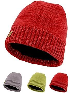 Flash Beanie Mütze aus reflektierender Wolle mit innenfleece für Damen und Herren. One Size (Rot)