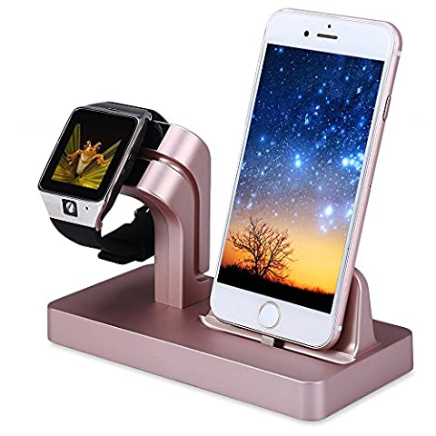 THANLY Watch Stand for Apple iWatch | 2 in 1 Charging Stand Bracket Dock Station Stock Cradle Holder for iPhone 6 6s 7 plus 5S 5 SE Apple Watch 38mm 42mm Lazyman Desktop Stand Charger