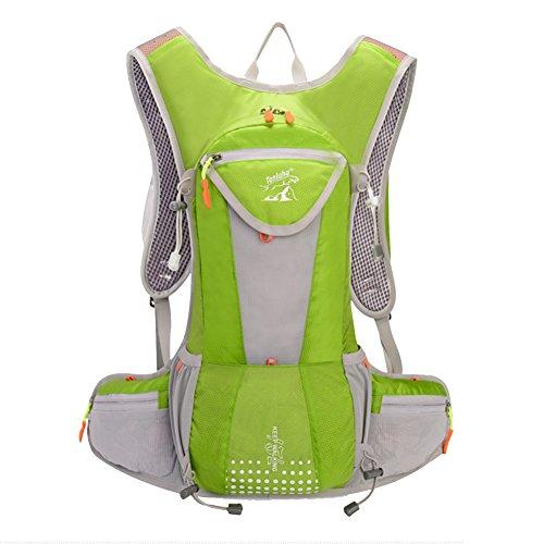 Fahrrad Rucksäcke 12L Groß Volumen Outdoor Schultasche integriert Nacht Sicherheit Reflektierende Streifen Rucksack perfeckt für Radsport Jogging Wanderung Outdoor Sport Skateboard Bergsteigen usw. Grün