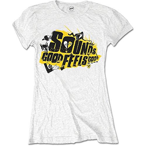 Rockoff Trade Damen T-Shirt 5 Seconds of Summer Sounds Good Album, Weiß, 42 Preisvergleich