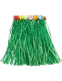 Rubie 's Offizielles Hawaii Bastrock grün mit Blumen, 50cm, Erwachsenen-Kostüm–One Size