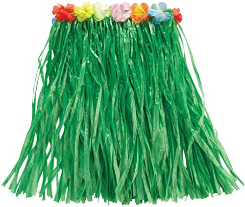 (Rubie's Hawaiianischer Bastrock, offizielles Produkt, Grün mit Blumen, 50cm, Erwachsenen-Kostüm, Einheitsgröße)