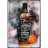 Stile Vintage retrò Whiskey Jack Daniels-Decorazione da parete a placca metallica 30 x 20 cm