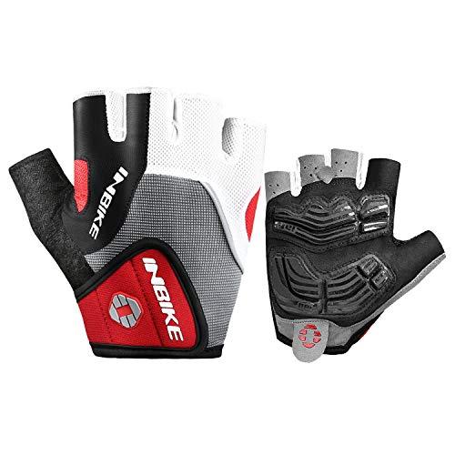 INBIKE Fahrradhandschuhe Handschuhe Fingerlos Herren Radhandschuhe halber Finger Mit Gel Atmungsaktiv Elastische für Radfahren Radsport Laufen Outdoor-Aktivitäten(Rot,XL)