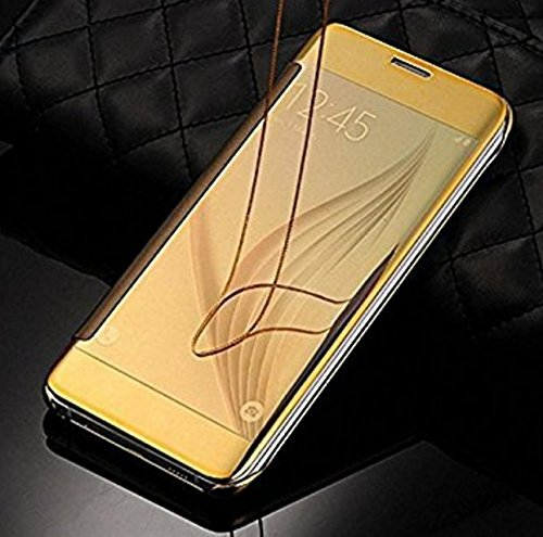 MOBI CRAZE Hard Plastic Mirror View Flip Case Cover for Samsung Galaxy J7 Max (Gold)