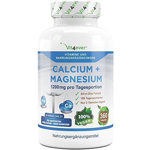 Calcium + Magnesium - 360 Tabletten - 1200 mg pro Tagesportion - Kalzium + Magnesium-Komplex im Verhältnis 2:1 - Vegan - Laborgeprüft - Muskeln + Blut + Nerven + Knochen + Zähne - Vit4ever
