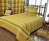 Homescapes waschbare Tagesdecke Sofaüberwurf XXL Morocco gelb grün 225 x 255 cm Überwurfsdecke Bettüberwurf 100% reine Baumwolle