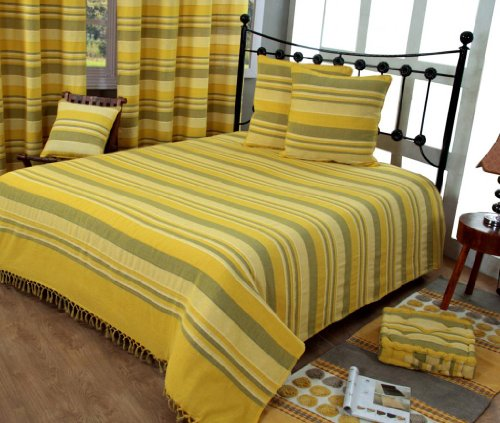 Homescapes waschbare Tagesdecke Sofaüberwurf XXL Morocco gelb grün 225 x 255 cm Überwur