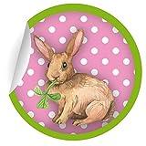 24 süße Oster Aufkleber   Sticker mit Punkten und Klee mümmelndem Hasen in rosa grün, MATTE universal Papieraufkleber für Geschenke, Etiketten für Tischdeko, Pakete, Briefe und mehr (ø 45mm