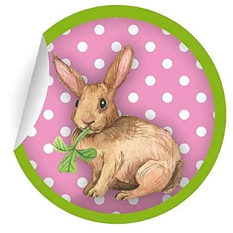 24 süße Oster Aufkleber | Sticker mit Punkten und Klee mümmelndem Hasen in rosa grün, MATTE Papieraufkleber für Geschenke, Etiketten für Tischdeko, Pakete, Briefe und mehr (ø 45mm; 1 Motiv)