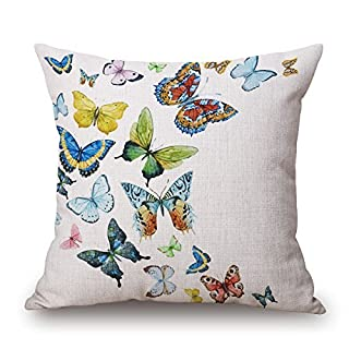 Elliot_yew Designs Original Vintage Pattern Colorful Butterfly and Flower Zippered Bed Pillow Cases Soft Square Pillowcase Cushion Cover Standard Size 18x18 Inch-Color 4