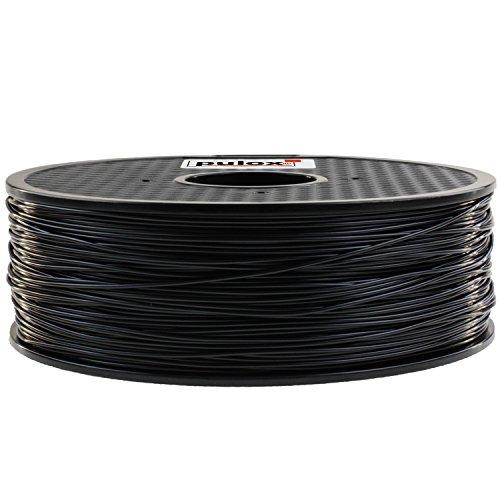 Pulox 3D Drucker Filament Rolle 1kg passend für MakerBot RepRap MakerGear Ultimaker uvm. (PLA 1.75, Schwarz)