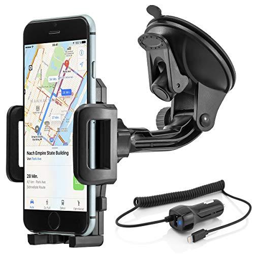 Universal 360° girevole Mobile Smartphone auto supporto a ventosa per Apple  iPhone 6 / 6 Plus / 6S / 6S Plus incl  Caricabatteria da auto cavo