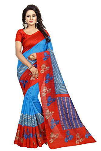 Mantra Multi Colour Bhagalpuri Silk Saree For women with Blouse pices