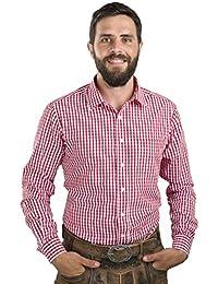 Trachtenhemd Slim fit kariert - Hemd Oktoberfest & Freizeit Karo rot oder blau