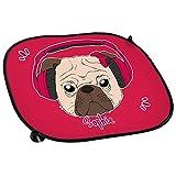 Auto-Sonnenschutz mit Namen Sophie und Mops-Motiv mit Kopfhörer und Schleife in pink für Mädchen   Auto-Blendschutz   Sonnenblende   Sichtschutz