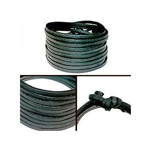 Bracelet en Cuir Wrap 200 cm Noir G15 - Noir