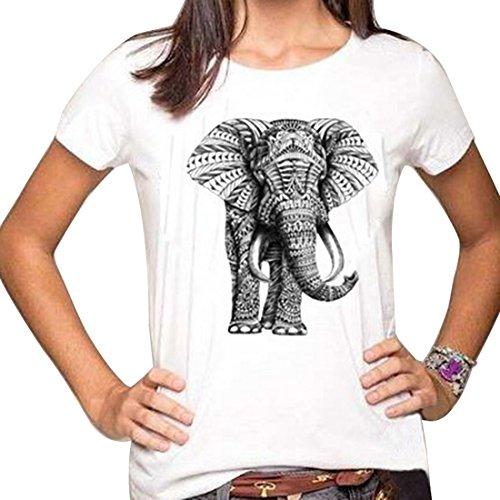 Aelegant Damen Sommer Causul Lose Basic Elefant Drucken Kurzarmshirt Rundhals T-Shirt Einfarbig Oberteil Tops