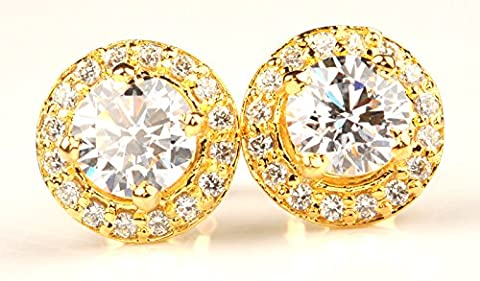 14KT YELLOW GOLD 5.50 CARATS ROUND SHAPE MAN-MADE/SIMULATED DIAMOND SOLITAIRE WOMEN'S EARRINGS