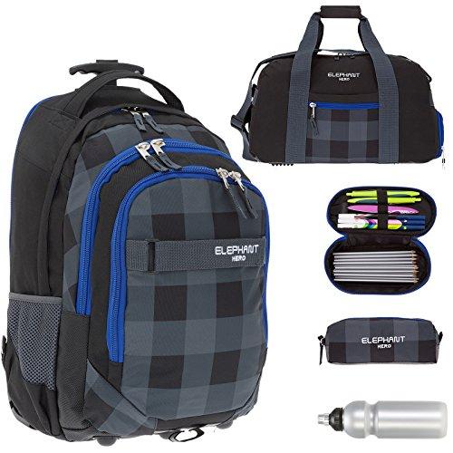 5 Teile MEGA SET: ELEPHANT Trolley HERO SIGNATURE Trolleyrucksack + Sporttasche + Mäppchen BOX + Etui Zipper + Trinkflasche (Plaid Black) (Auf Rädern-polyester)