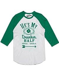 Crazy Dog Tshirts Womens HES My Drunker Half Funny Couples Saint Patricks Day Drinking Raglan Shirt