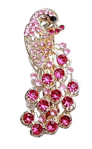 Boules pour femme Coffret cadeau inclus Or Rose strass cristal Peacock Clip Barrette à cheveux pour mariée