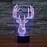 3D Optical Lamp Jawell Santa Claus Reindeer Illusion Night Light 7 Colors with Smart Touch Button USB Cable Creative Home Office Art Decorations
