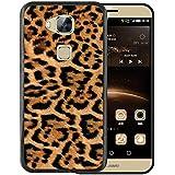 Funda Huawei GX8 / G8, WoowCase [ Huawei GX8 / G8 ] Funda Silicona Gel Flexible AnimalSkinEstampado Leopardo, Carcasa Case TPU Silicona - Negro