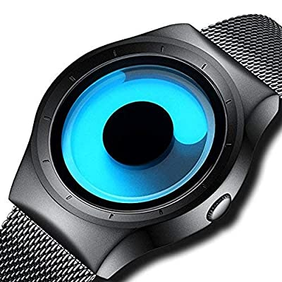 Attractionz Swift Movement Blue Spinner Dial Black Shepard Metal Belt Mens & Boys Watch - Blue Spin
