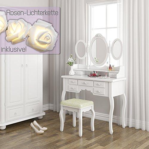 Schminktisch Kosmetiktisch Frisierkommode Frisiertisch Spiegel Queen Rose weiß mit Lichterkette - 4