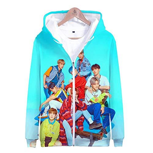 ex 3D Gedruckte Song Und Tanz Kombination Thema Jugend Kapuzen Sweatshirt Lose Lässig Paar Reißverschluss Hoodie Shirt, Ateez, M ()