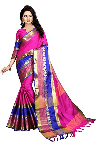 sarees below 500 rupees party wear(Perfectblue Women`s cotton Silk designer saree with...