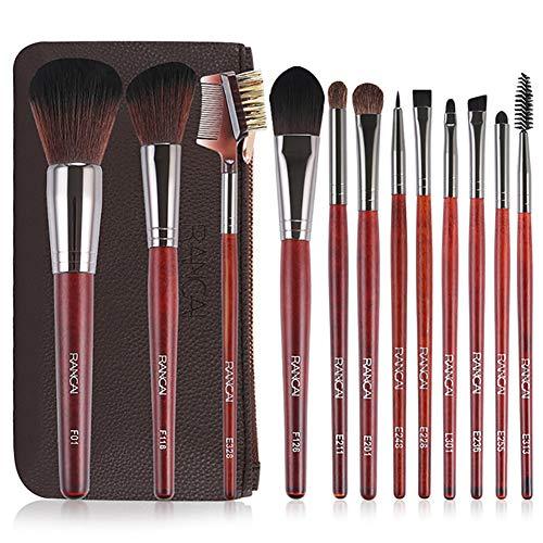 Snner 12 TEILE/SATZ Premium Make-Up Pinsel Set Soft Synthetic Hair Foundation Brushes Gesichtspuder-Kontur-Rougepinsel-Kosmetikaugenpinsel-Kit Mit Leder-Organizer -