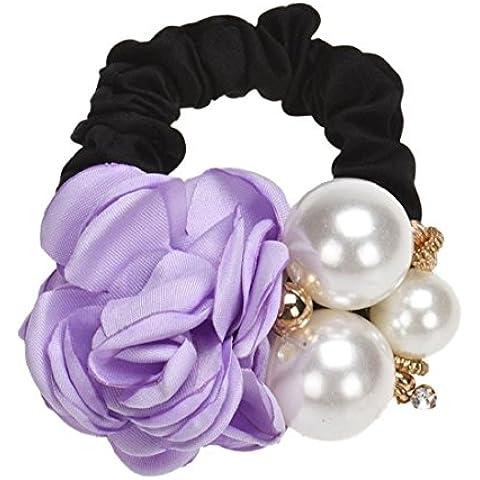 Tongshi Cuerda de perlas de los granos Rose Band pelo de la flor de Scrunchie del Ponytail (Púrpura)