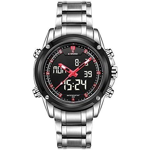 pkaty Sport da uomo in acciaio inossidabile LED analogico dual time calendario digitale dispaly polso Watch-Silver e rosso