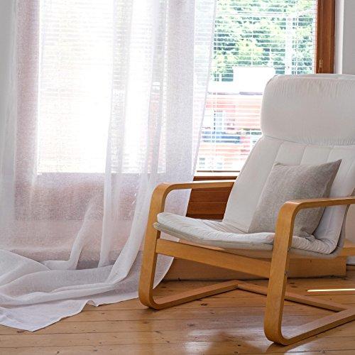 Leinen Vorhang - Gardine - Leinengardine - Leinenvorhang - Leinvorhang - Farbe Weiß - durchsichtig, transparent (140 x 300 cm)