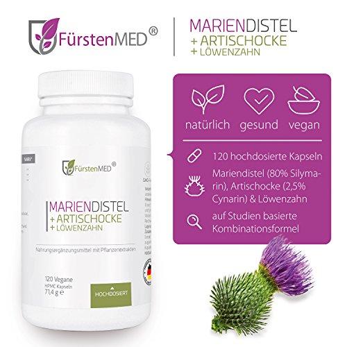 FürstenMED® Mariendistel Artischocke Löwenzahn – Leber Komplex Hochdosiert mit 80% Silymarin. 120 Vegane Kapseln ohne Zusatzstoffe
