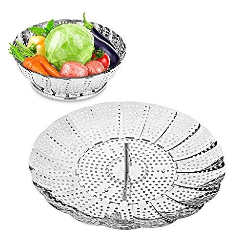 HOMMINI Gemüse Dampfkochtopf, Edelstahl-Dampfkochtopf zum Kochen, Faltdämpfer für heiße kalte Speisen, Gemüse, Obst und Snack Küchenhelfer