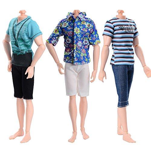 Asiv Modische 3 Kurze Ärmel und 3 Hosen Freizeitkleidung für Ken Barbie Puppen, Geburtstag Party Geschenk - Barbie-party Ken