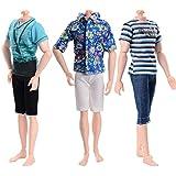 ASIV 3 Ensembles Vêtements de Mode pour Ken Petit Ami de Barbie Poupée (Chemise, Pantalon), Style Aléatoire