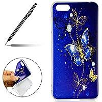 Uposao Huawei Y5 2018 Silikon Handyhüllen Schöne Muster Durchsichtige Ultradünn Schutzhülle Transparent Silikon Bumper Clear Backcover,Glitter Schmetterling