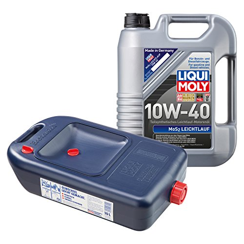 LIQUI MOLY MoS2 Leichtlauf Motoröl 10W-40 5L 1092 + Ölwechsel-Kanister 7055