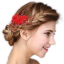 Vintage sposa tiara strass perline rosse Cerchietto matrimonio Prom  fermagli per capelli fascia per capelli gioielli adbcea2c3356