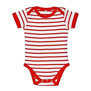 Sol's Baby Miles Stripe Short Sleeve Bodysuit Outfits Clothes Kids Summer Toddler (18-23, White Red)