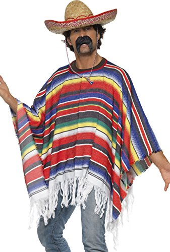 Poncho Mehrfarbig, One Size (Fancy Dress Indische)