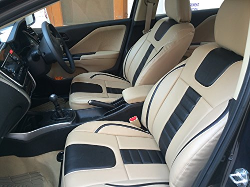 for honda amaze - car seat covers - pu leatherite / rexin - beige and black For Honda Amaze – Car Seat covers – PU Leatherite / Rexin – Beige and Black 51MxkX 2BK oL