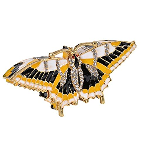 micg Vintage handbemalt Schmetterling in Flight Schmuckkästchen mit Strass Ornament (Schmetterling Dish)