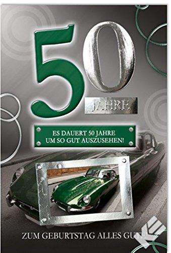 """Karte zum 50. Geburtstag """"Oldtimer"""", B6 + Umschlag"""