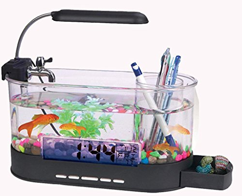 Uhr Tank Fish (AN-LKYIQI Mini-USB-LCD Desktop Lampe Licht Aquarium Aquarium LED Uhr Kalender mit Filter und Wasserpumpe, Aquarium Ornamente. , black)